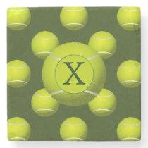 Monogram Tennis Balls Sports pattern, Stone Coaster