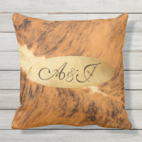 Monogram Texas Long Horn Animal Fur Print Chic Outdoor Pillow