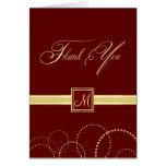 Monogram Thank You Cards - Burgundy & Gold