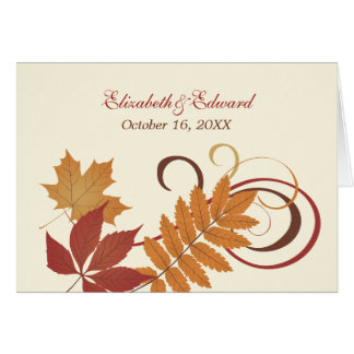 Monogram Thank You Note   Autumn Falling Leaves Card