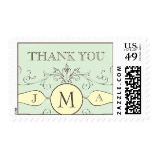 Monogram Thank You Postage Stamps Cream