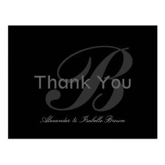 Monogram thank you postcard