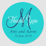 Monogram Thank You Wedding Favor Label Classic Round Sticker