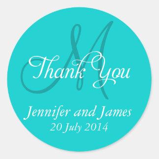Monogram Thank You Wedding Favour Stickers Aqua