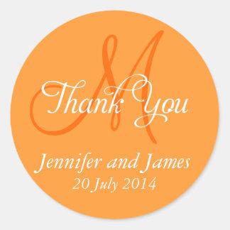 Monogram Thank You Wedding Favour Stickers Orange