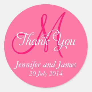 Monogram Thank You Wedding Favour Stickers Pink
