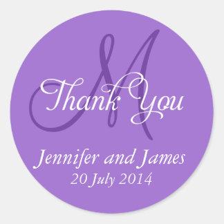 Monogram Thank You Wedding Favour Stickers Purple
