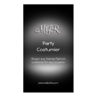 Monogram, Themed Party Costumier, metal-look Business Cards