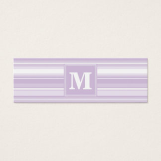 Monogram thistle purple stripes mini business card