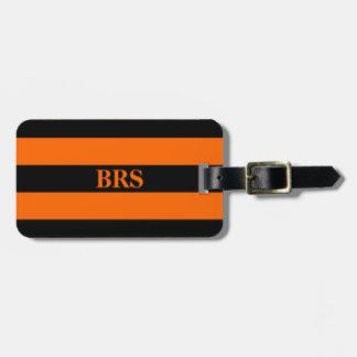 Monogram Three Black Stripe on Orange Luggage Tag