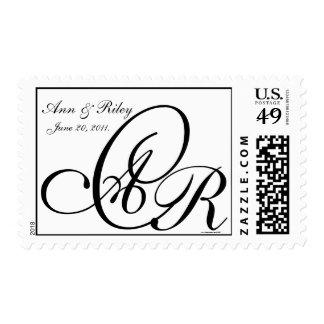 Monogram Three Letters Black and White Postage