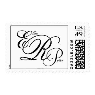 Monogram Three Letters Black & White Postage Stamp