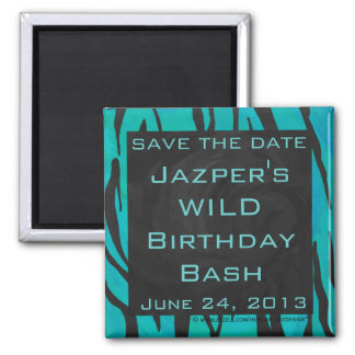 Monogram Tiger Black and Teal Print Pattern 2 Inch Square Magnet