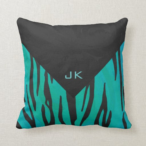 Monogram Tiger Black and Teal Print Pattern Throw Pillow Zazzle