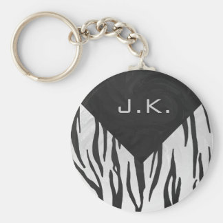 Monogram Tiger Black and White Print Keychain