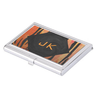 Monogram Tiger Hot Orange and Black Print Pattern Case For Business Cards