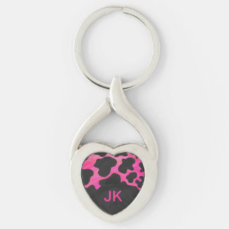 Monogram Tiger Hot Pink and Black Print Pattern Keychain