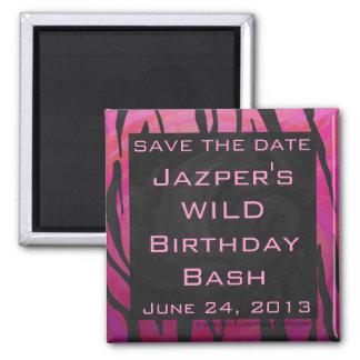 Monogram Tiger Hot Pink and Black Print Pattern Magnet