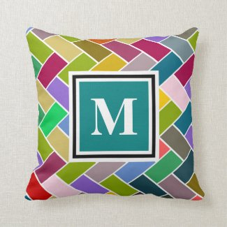Monogram Tiled Colourful Repeating Pattern Pillow