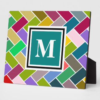 Monogram Tiled Colourful Repeating Pattern Plaque