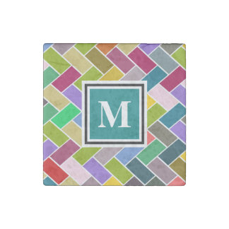 Monogram Tiled Colourful Repeating Pattern Stone Magnet