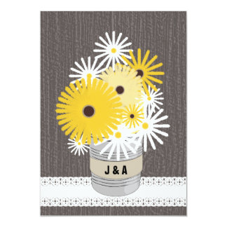 Monogram Tin Can Daisies & Black Eyed Susans 5x7 Paper Invitation Card
