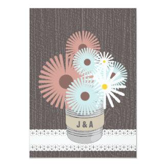 Monogram Tin Can Peach & Blue Daisies Card