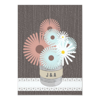 Monogram Tin Can Peach & Blue Daisies Personalized Invitations
