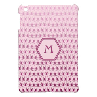 Monogram tiny pink spiders personalized iPad mini case
