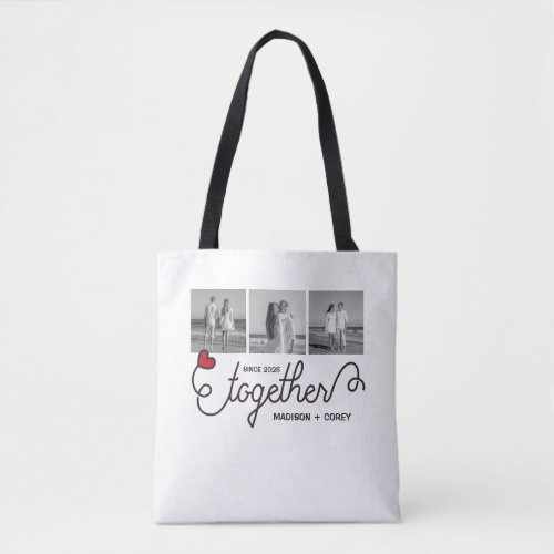 Monogram Together Typography Art Instagram Photos Tote Bag