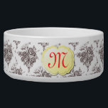 """Monogram Toile Pet Bowl<br><div class=""""desc"""">Beautiful rose toile pattern with vintage name plate for you to personalize with your pet&#39;s monogram or name. A great addition to any home decor.</div>"""