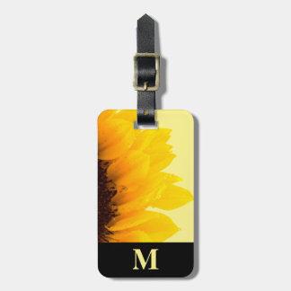 Monogram Travel Yellow Sunflower on Yellow Bag Tag