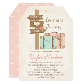 Monogram Traveling from Miss to Mrs Bridal Shower Card