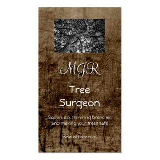 Monogram, Tree Surgery Business, leather-effect Business Card Templates