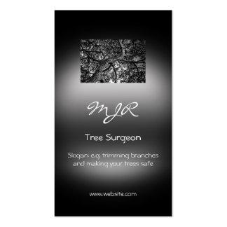 Monogram, Tree Surgery Business, metallic-effect Business Card Templates