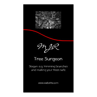 Monogram, Tree Surgery Business, red swoosh Business Card