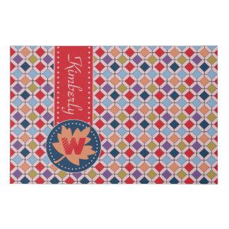 Monogram Trendy Autumn Fall Fashion Color Palette Faux Canvas Print