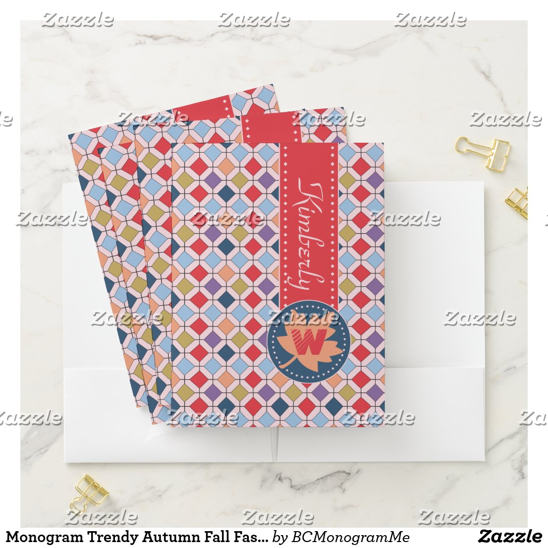 Monogram Trendy Autumn Fall Fashion Color Palette Pocket Folder