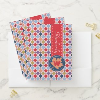 Monogram Trendy Autumn Fall Fashion Color Palette Pocket Folder