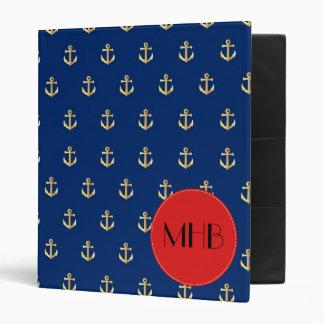 Monogram - Trendy Nautical Anchor - Blue Gold Red Binders