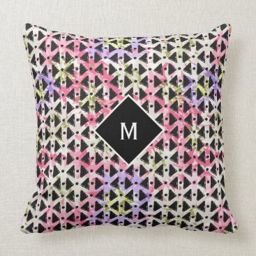 Aztec Themed Monogram trendy open weave colorful throw pillow