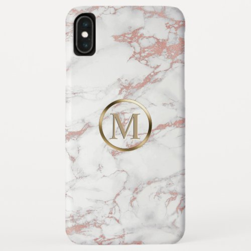 Monogram Trendy Rose Gold & White Marble Phone Case