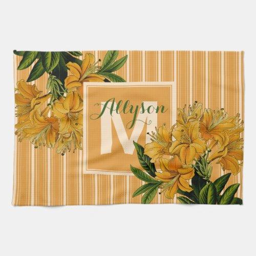 Monogram Trendy Turmeric Stripes Vintage Floral Hand Towel