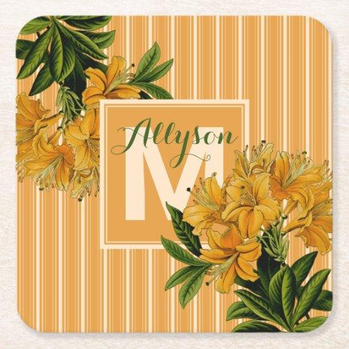 Monogram Trendy Turmeric Stripes Vintage Floral Square Paper Coaster