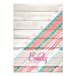 "Monogram Tribal Aztec Coral Teal Chevron Wood 5"" X 7"" Invitation Card"