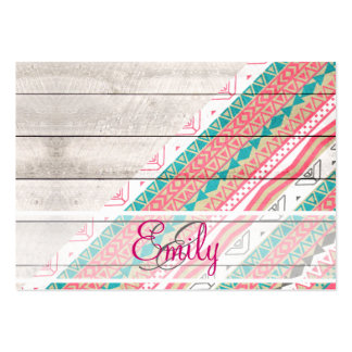 Monogram Tribal Aztec Coral Teal Chevron Wood Large Business Cards (Pack Of 100)