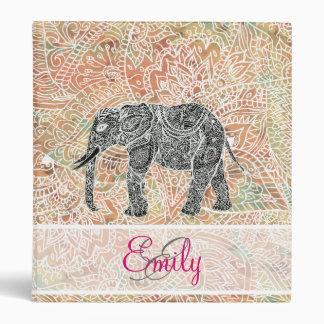 Monogram Tribal Paisley Elephant Colorful Henna Binder