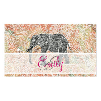 Monogram Tribal Paisley Elephant Colorful Henna Business Card Templates