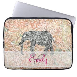 Monogram Tribal Paisley Elephant Colorful Henna Computer Sleeves