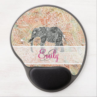 Monogram Tribal Paisley Elephant Colorful Henna Gel Mouse Pad